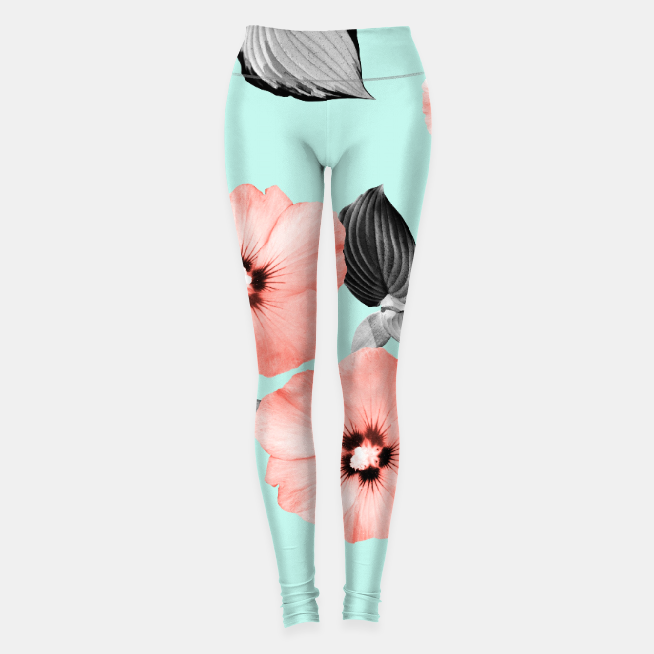 Image of Living Coral Floral Dream #3 #flower #pattern #decor #art Leggings - Live Heroes