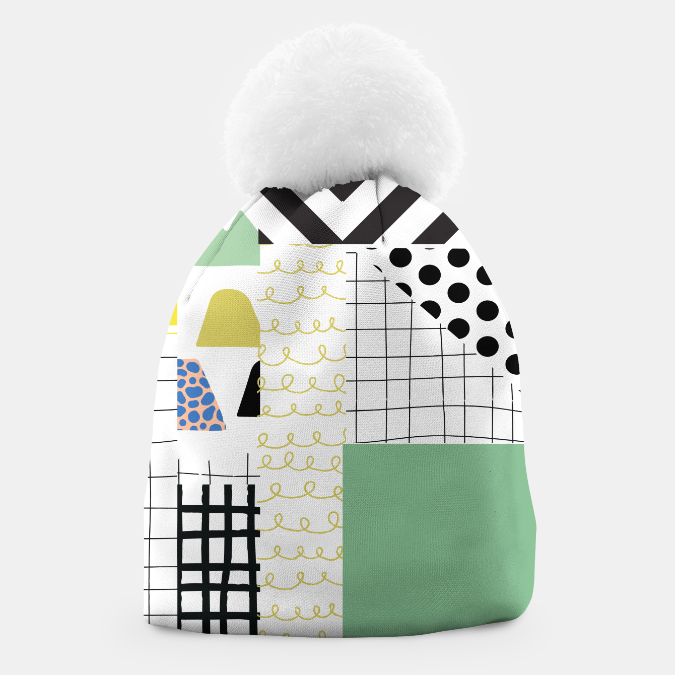 Image of minimal abstract green Beanie - Live Heroes