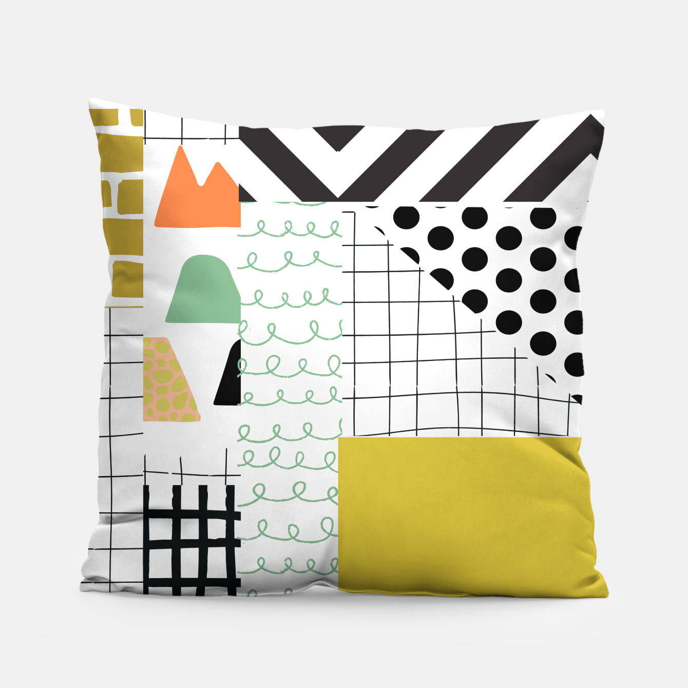 Image of minimal abstract yellow Pillow - Live Heroes