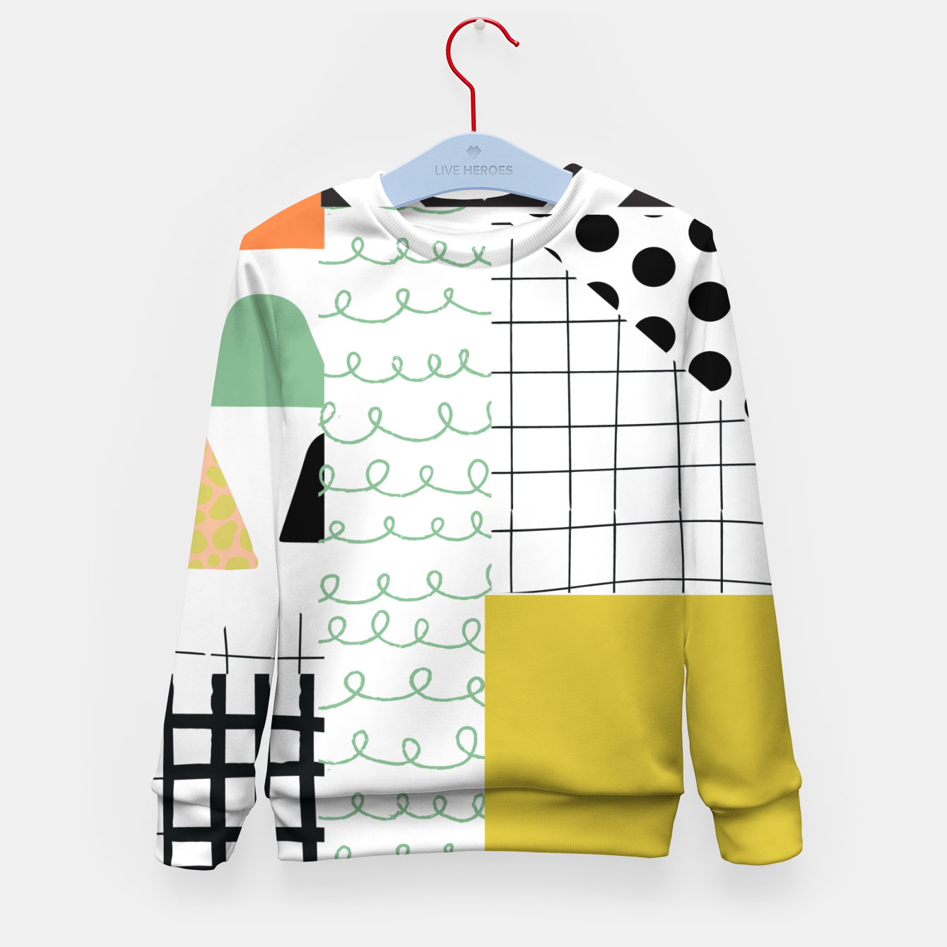 Image of minimal abstract yellow Kid's sweater - Live Heroes