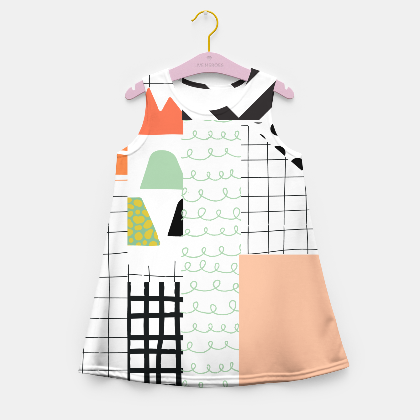 Image of minimal abstract coral Girl's summer dress - Live Heroes
