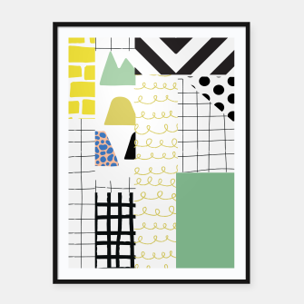 Thumbnail image of minimal abstract green Framed poster, Live Heroes