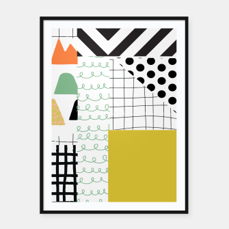 Thumbnail image of minimal abstract yellow Framed poster, Live Heroes