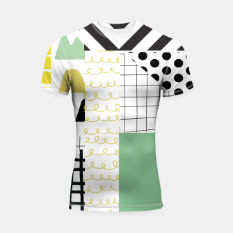 Thumbnail image of minimal abstract green Shortsleeve rashguard, Live Heroes