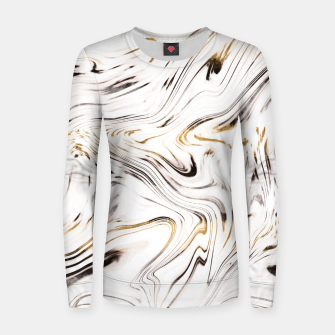 Liquid Gold Silver Black Marble #1 #decor #art  Frauen sweatshirt obraz miniatury