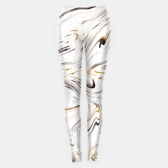 Liquid Gold Silver Black Marble #1 #decor #art  Leggings obraz miniatury