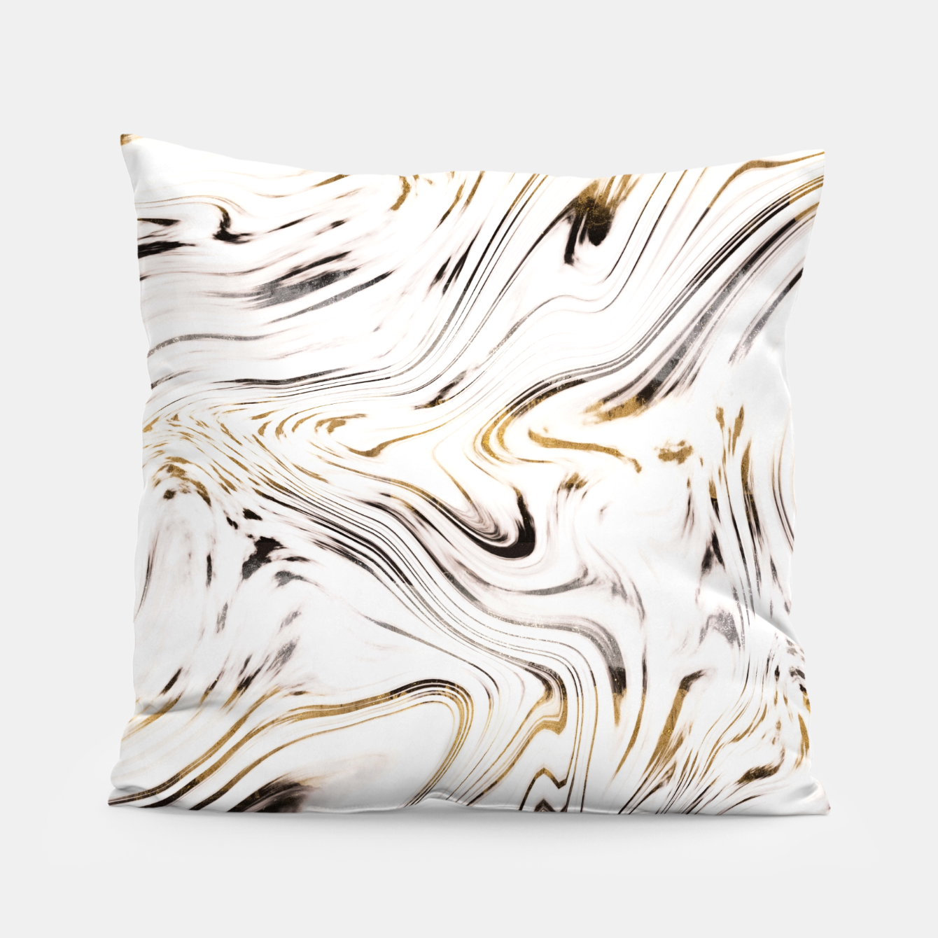 Image of Liquid Gold Silver Black Marble #1 #decor #art  Kissen - Live Heroes
