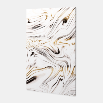 Liquid Gold Silver Black Marble #1 #decor #art  Canvas obraz miniatury
