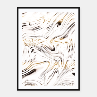 Thumbnail image of Liquid Gold Silver Black Marble #1 #decor #art  Plakat mit rahmen, Live Heroes