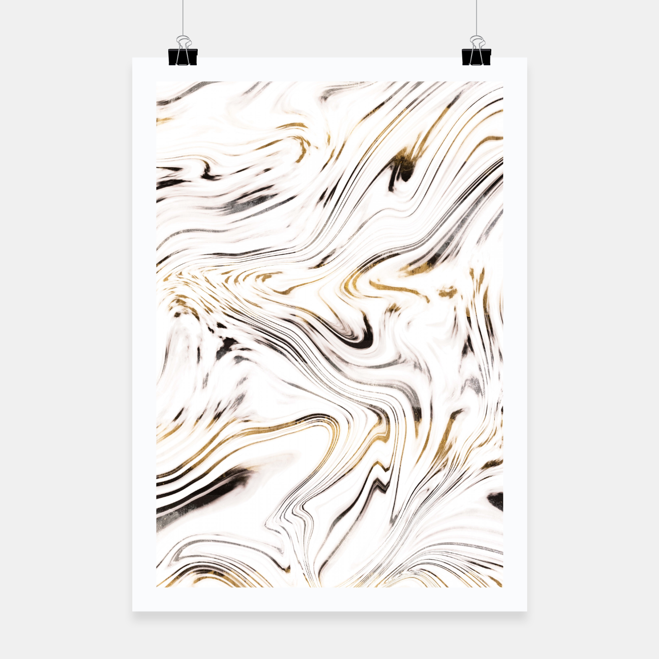 Image of Liquid Gold Silver Black Marble #1 #decor #art  Plakat - Live Heroes
