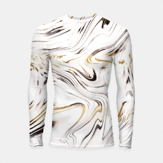 Thumbnail image of Liquid Gold Silver Black Marble #1 #decor #art  Longsleeve rashguard, Live Heroes