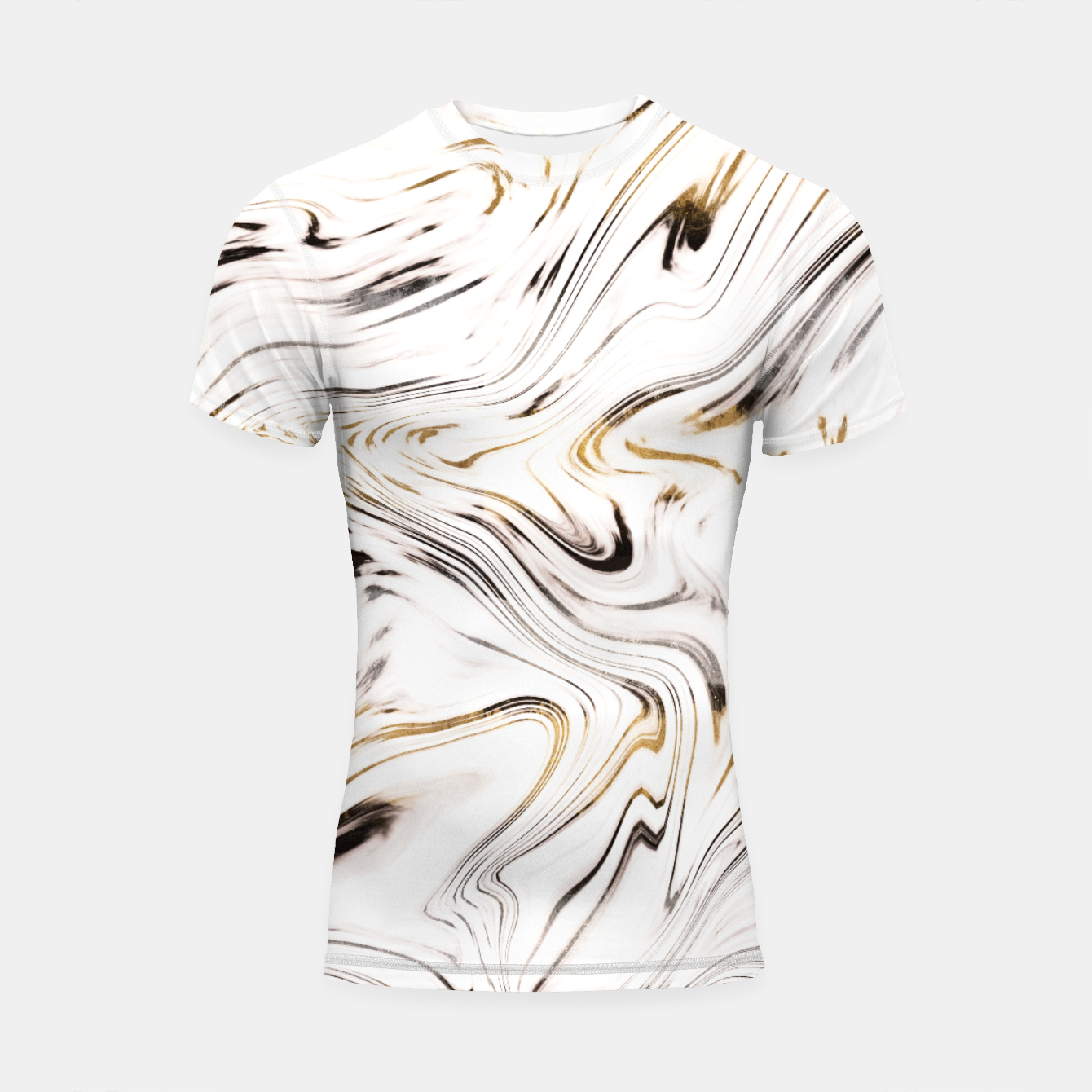Image of Liquid Gold Silver Black Marble #1 #decor #art  Shortsleeve rashguard - Live Heroes