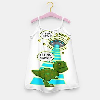 Thumbnail image of Funny T-Rex UFO Abduction Fail Mädchenkleid, Live Heroes