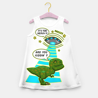 Thumbnail image of Funny T-Rex UFO Abduction Fail Mädchen-Sommerkleid, Live Heroes