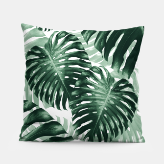 Tropical Monstera Jungle Leaves Pattern #1 #tropical #decor #art Kissen obraz miniatury