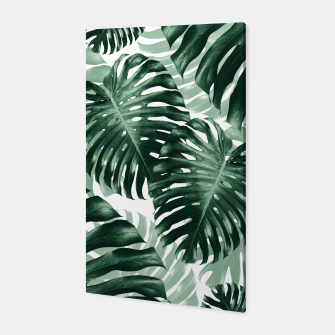 Tropical Monstera Jungle Leaves Pattern #1 #tropical #decor #art Canvas obraz miniatury