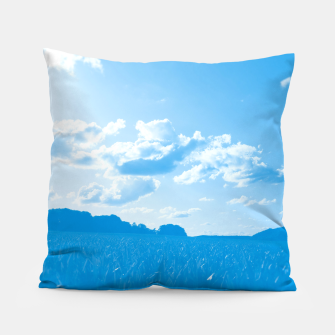 meadow and clouds wb Pillow miniature