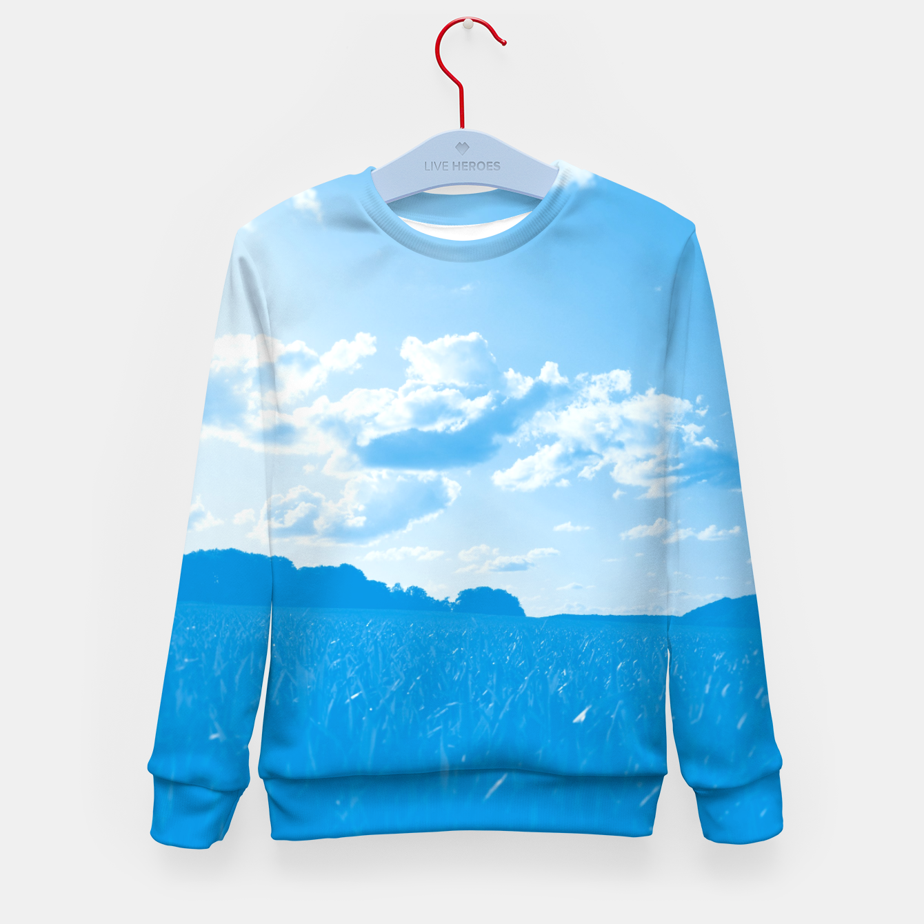Image de meadow and clouds wb Kid's sweater - Live Heroes