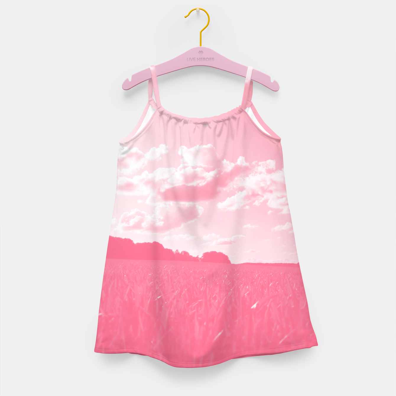 Image of meadow and clouds pw Girl's dress - Live Heroes