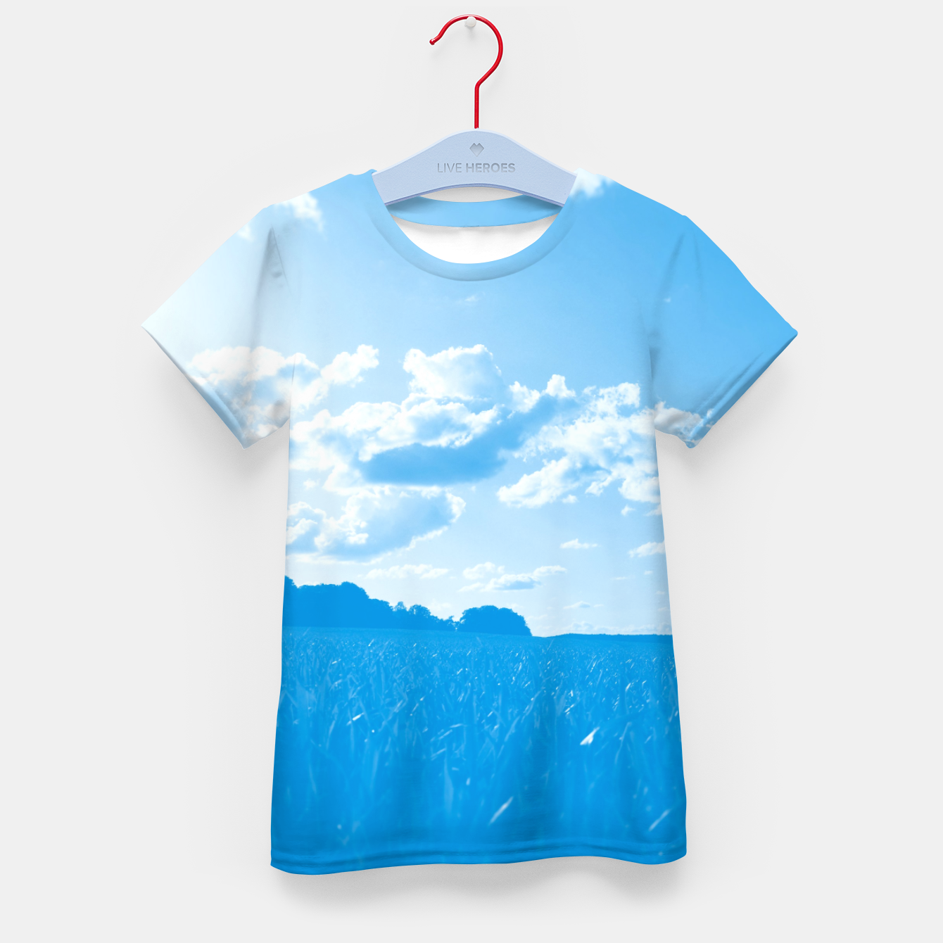 Image de meadow and clouds wb Kid's t-shirt - Live Heroes