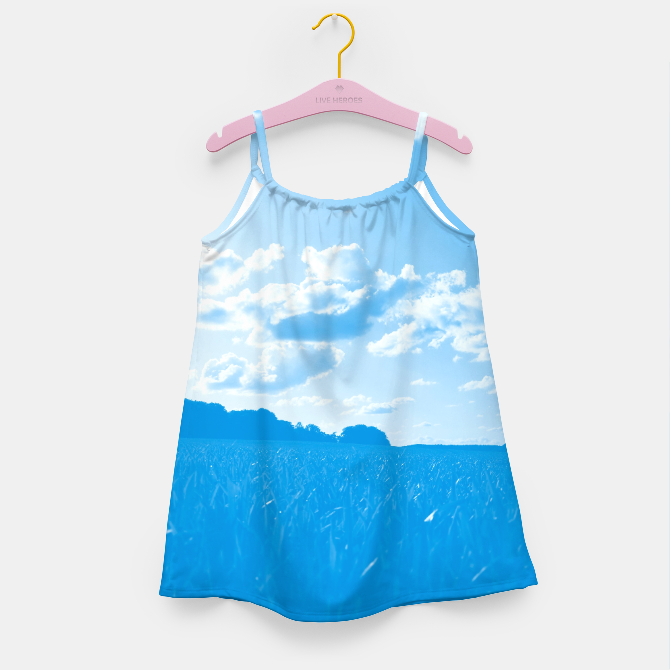 Image of meadow and clouds wb Girl's dress - Live Heroes