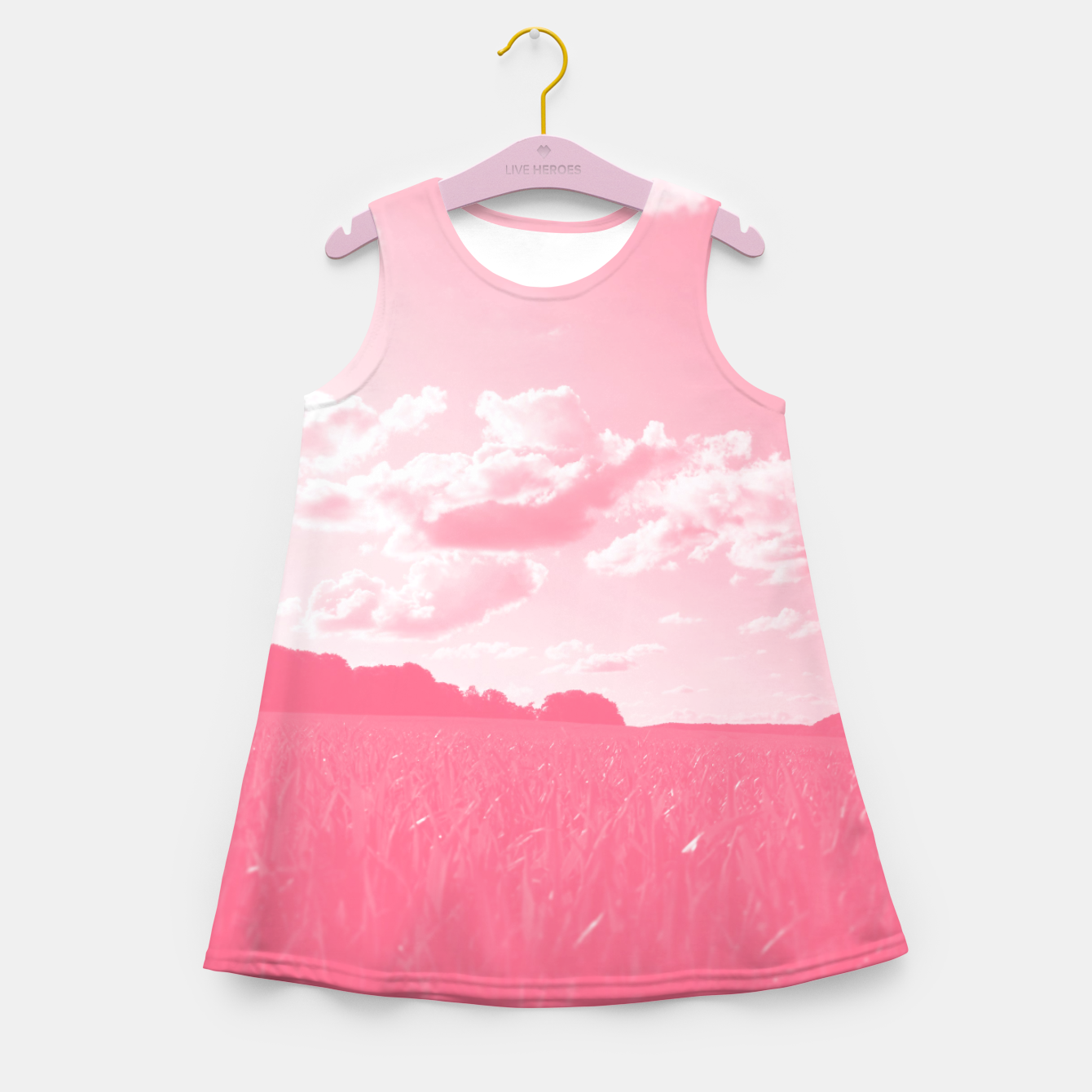 Image of meadow and clouds pw Girl's summer dress - Live Heroes