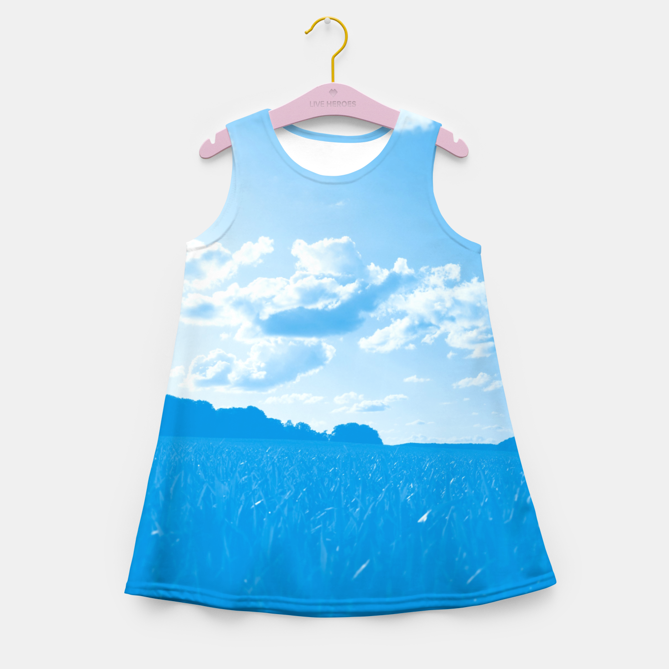 Image de meadow and clouds wb Girl's summer dress - Live Heroes