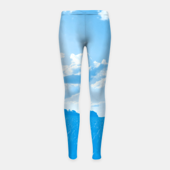 Thumbnail image of meadow and clouds wb Girl's leggings, Live Heroes