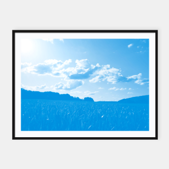 meadow and clouds wb Framed poster miniature