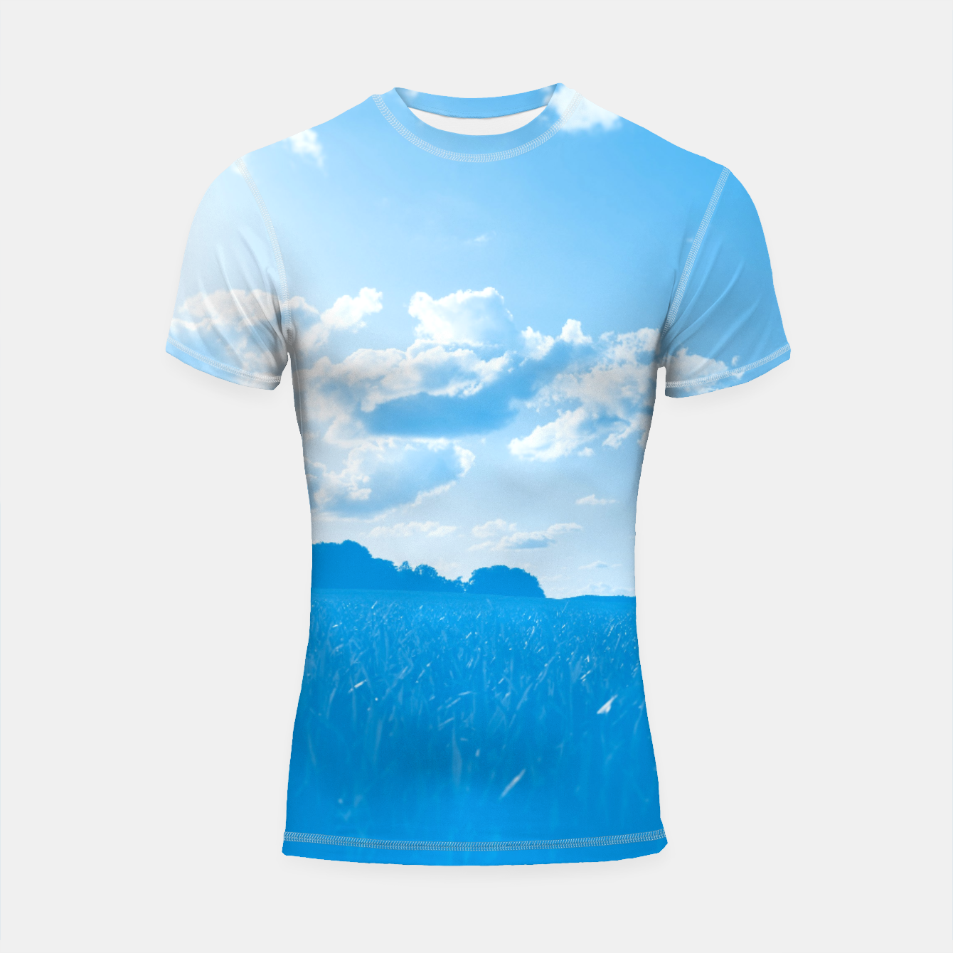 Image of meadow and clouds wb Shortsleeve rashguard - Live Heroes