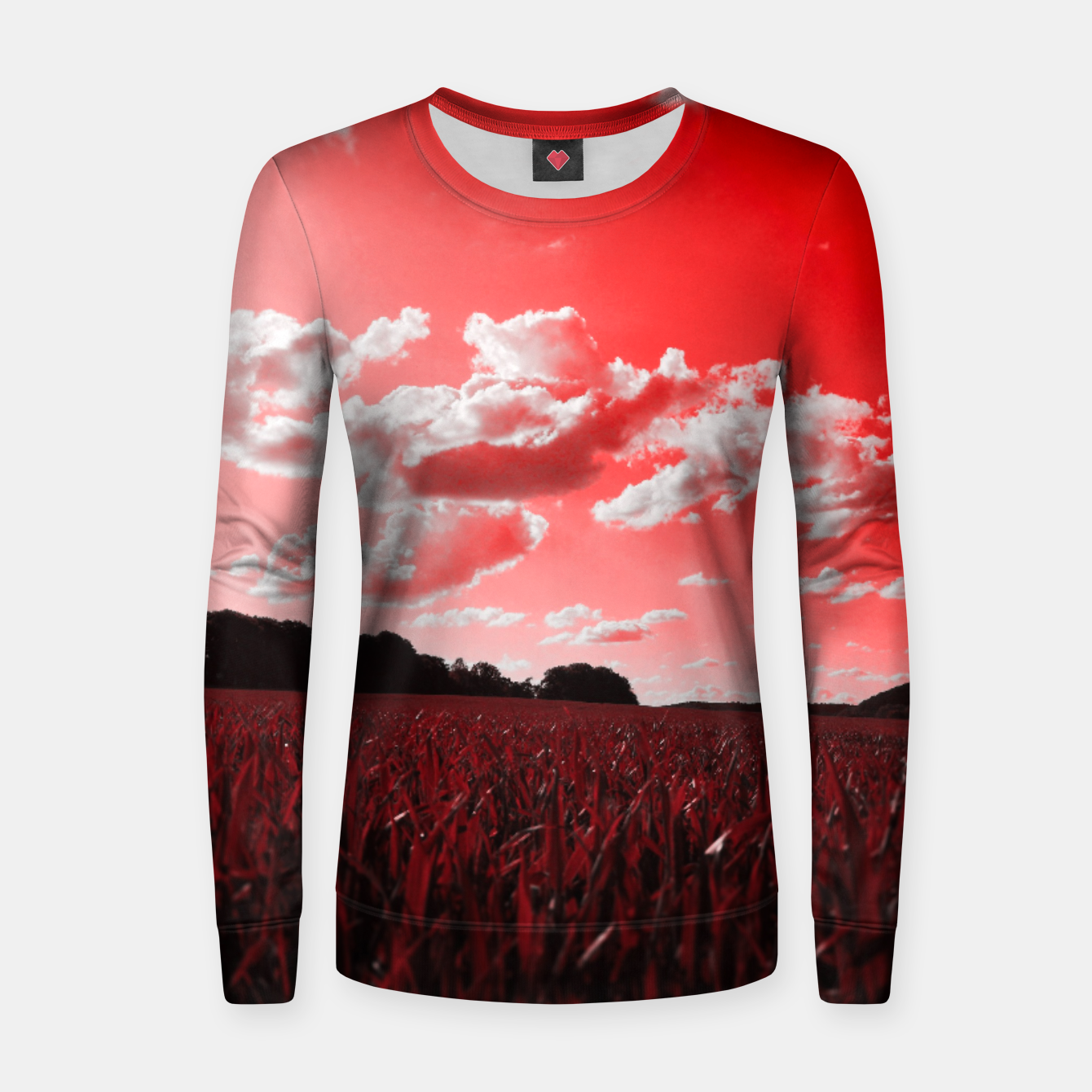 Image of meadow and clouds dr Women sweater - Live Heroes
