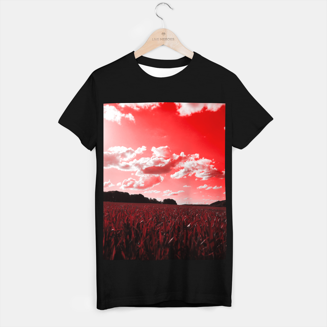 Image of meadow and clouds dr T-shirt regular - Live Heroes
