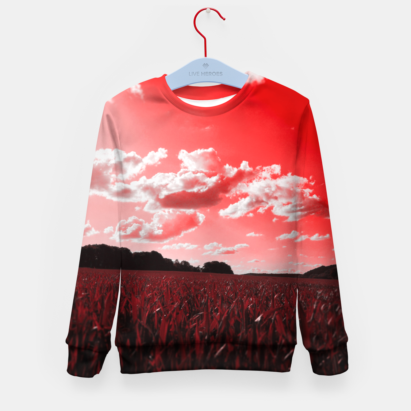Image of meadow and clouds dr Kid's sweater - Live Heroes