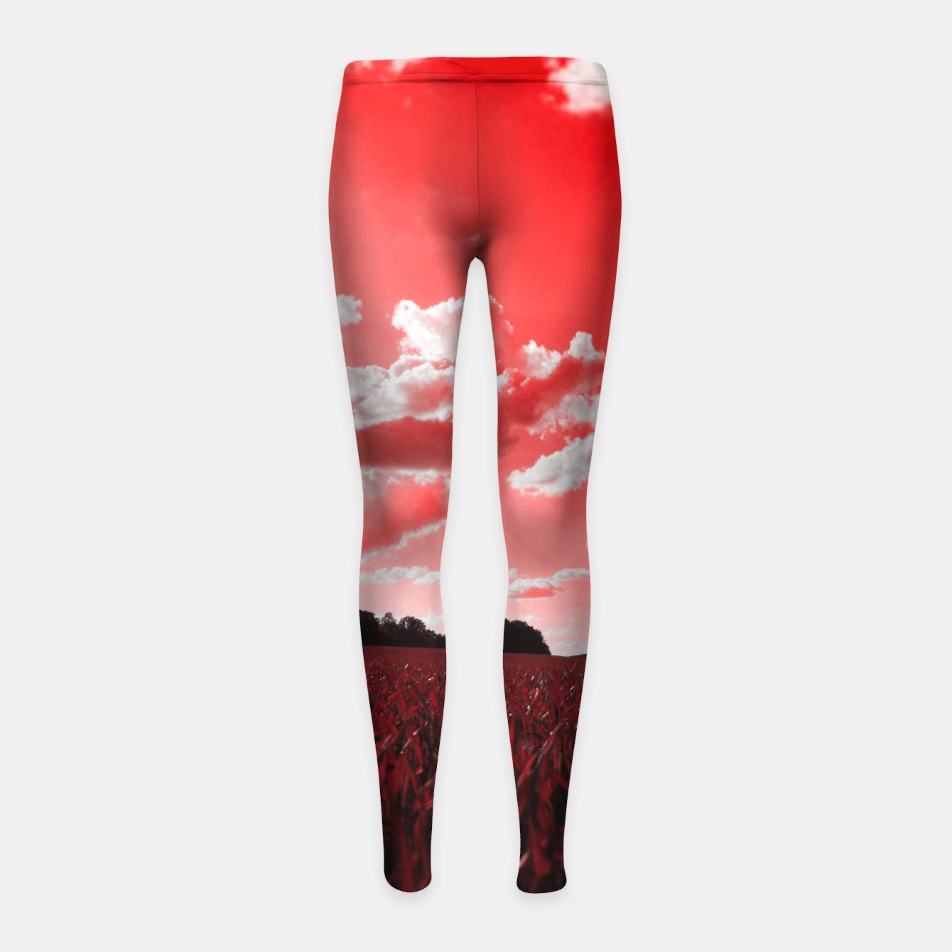 Image of meadow and clouds dr Girl's leggings - Live Heroes