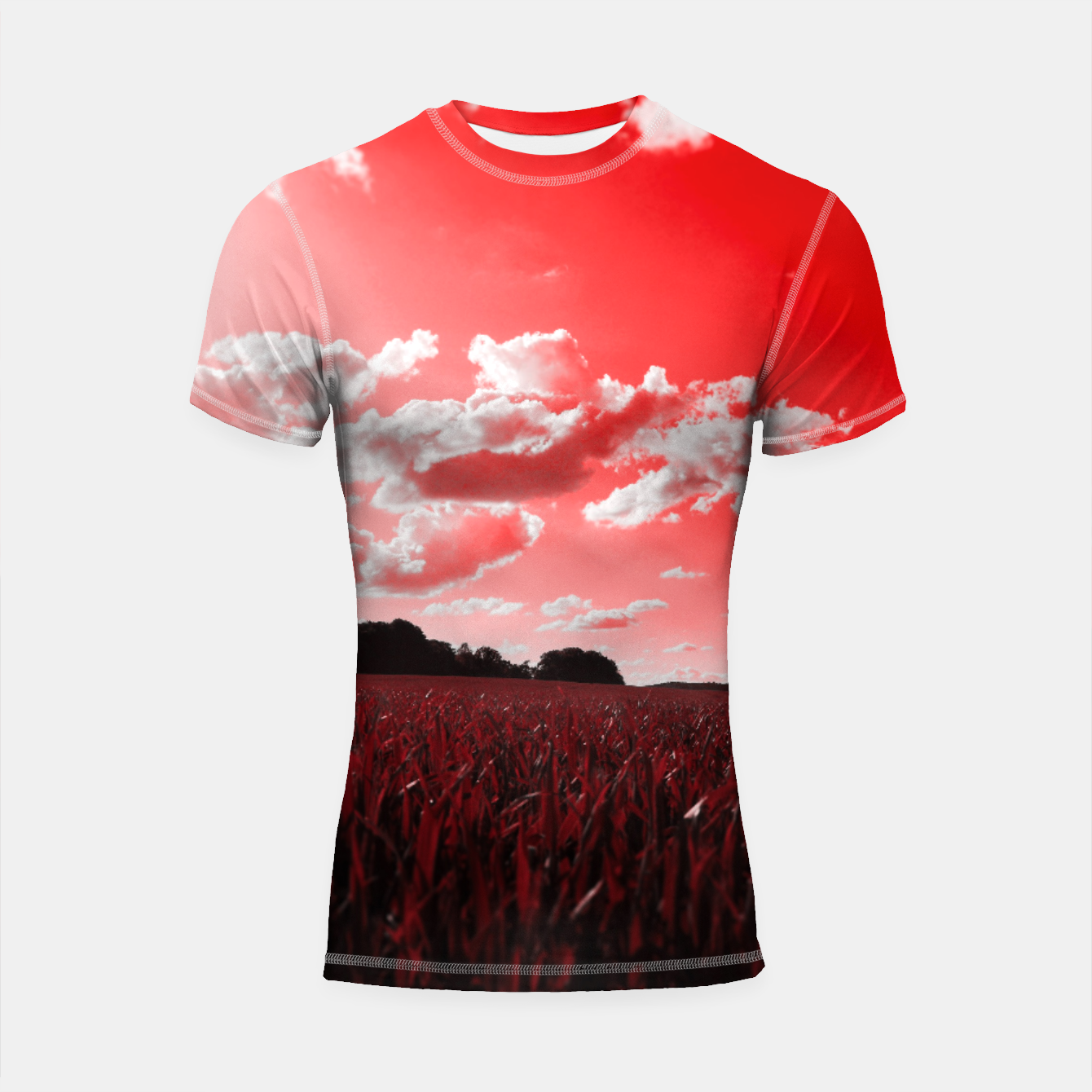 Image of meadow and clouds dr Shortsleeve rashguard - Live Heroes