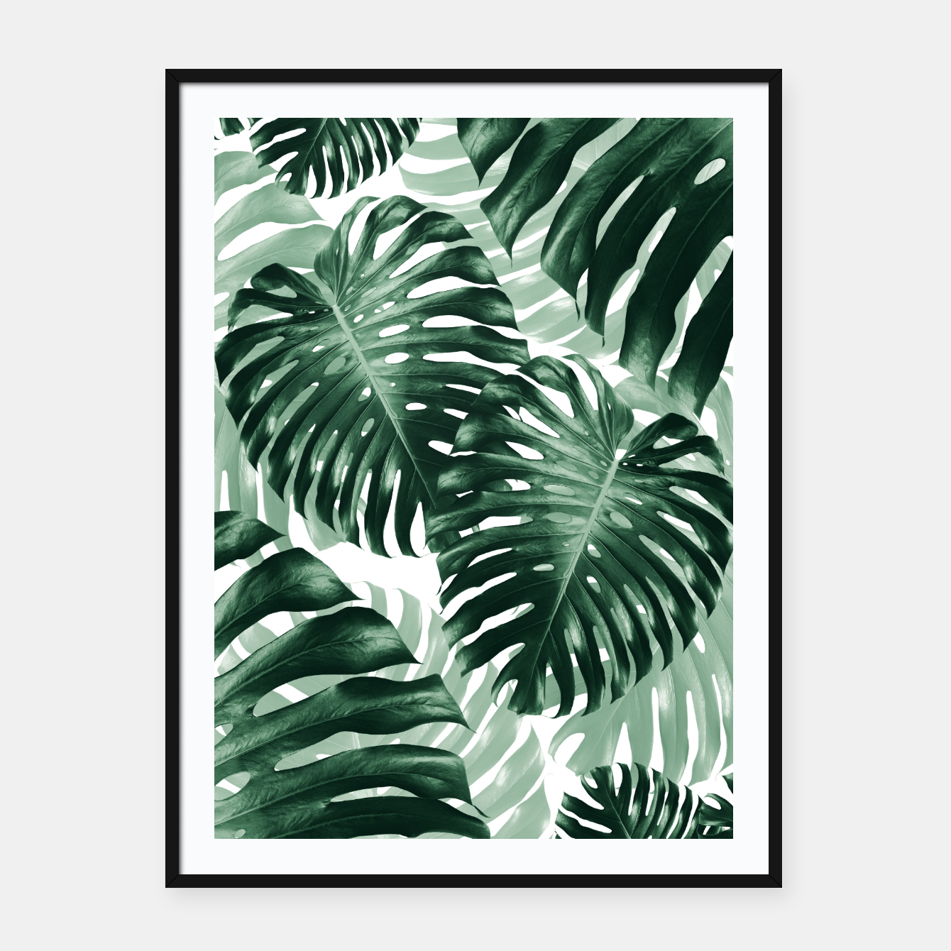 Image of Tropical Monstera Jungle Leaves Pattern #1 #tropical #decor #art Plakat mit rahmen - Live Heroes
