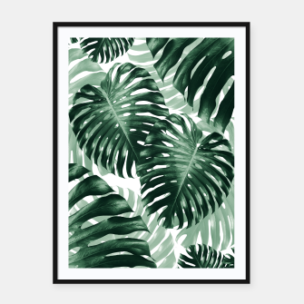 Tropical Monstera Jungle Leaves Pattern #1 #tropical #decor #art Plakat mit rahmen obraz miniatury