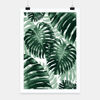 Tropical Monstera Jungle Leaves Pattern #1 #tropical #decor #art Plakat obraz miniatury