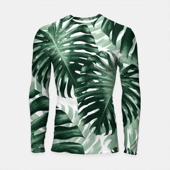 Tropical Monstera Jungle Leaves Pattern #1 #tropical #decor #art Longsleeve rashguard obraz miniatury