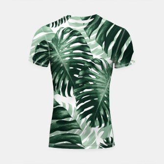 Tropical Monstera Jungle Leaves Pattern #1 #tropical #decor #art Shortsleeve rashguard obraz miniatury