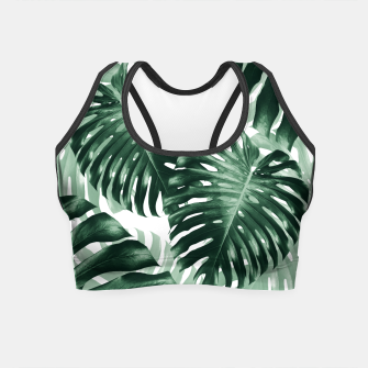 Tropical Monstera Jungle Leaves Pattern #1 #tropical #decor #art Crop Top obraz miniatury