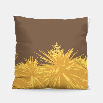 Thumbnail image of Mustard yucca leaves on toffee background  Pillow, Live Heroes