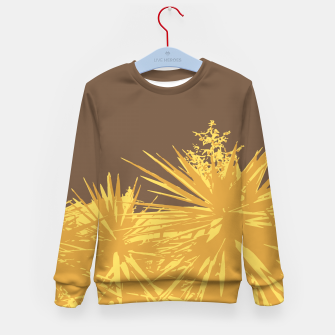 Thumbnail image of Mustard yucca leaves on toffee background  Kid's sweater, Live Heroes