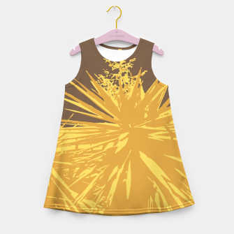 Miniature de image de Mustard yucca leaves on toffee background  Girl's summer dress, Live Heroes
