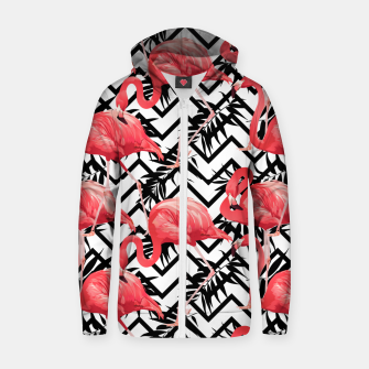 Thumbnail image of Zig Zag Flamingos Zip up hoodie, Live Heroes