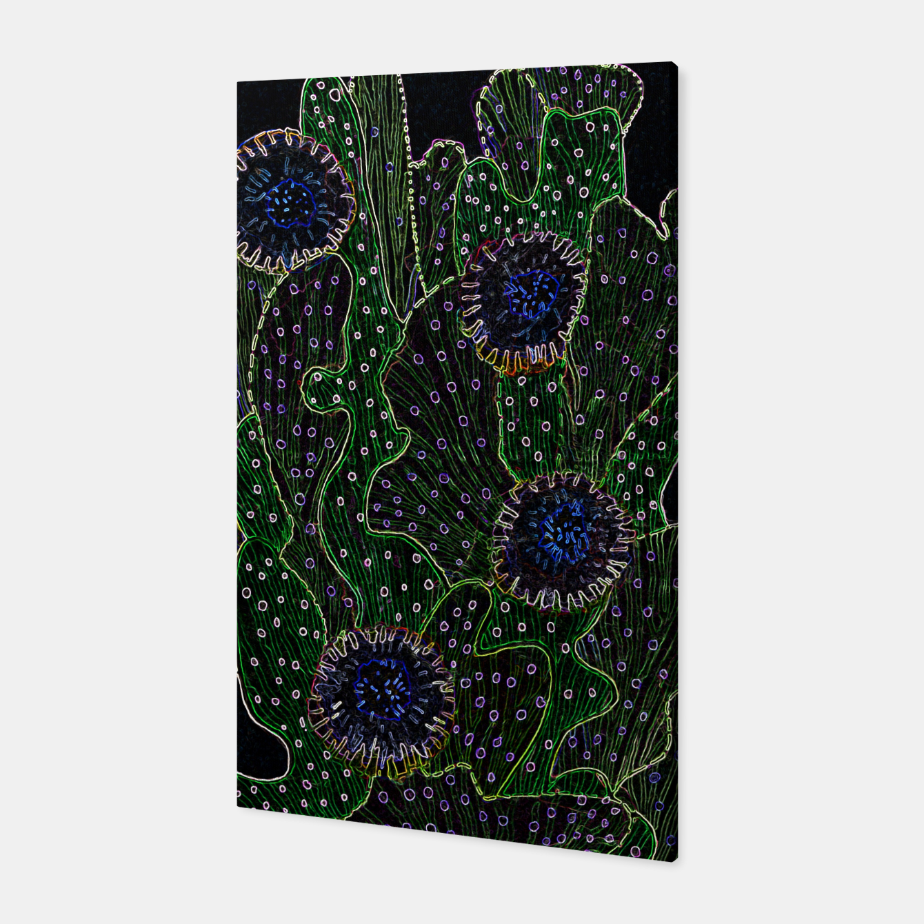 Image of Blooming Cactus, Black & Neon Canvas - Live Heroes