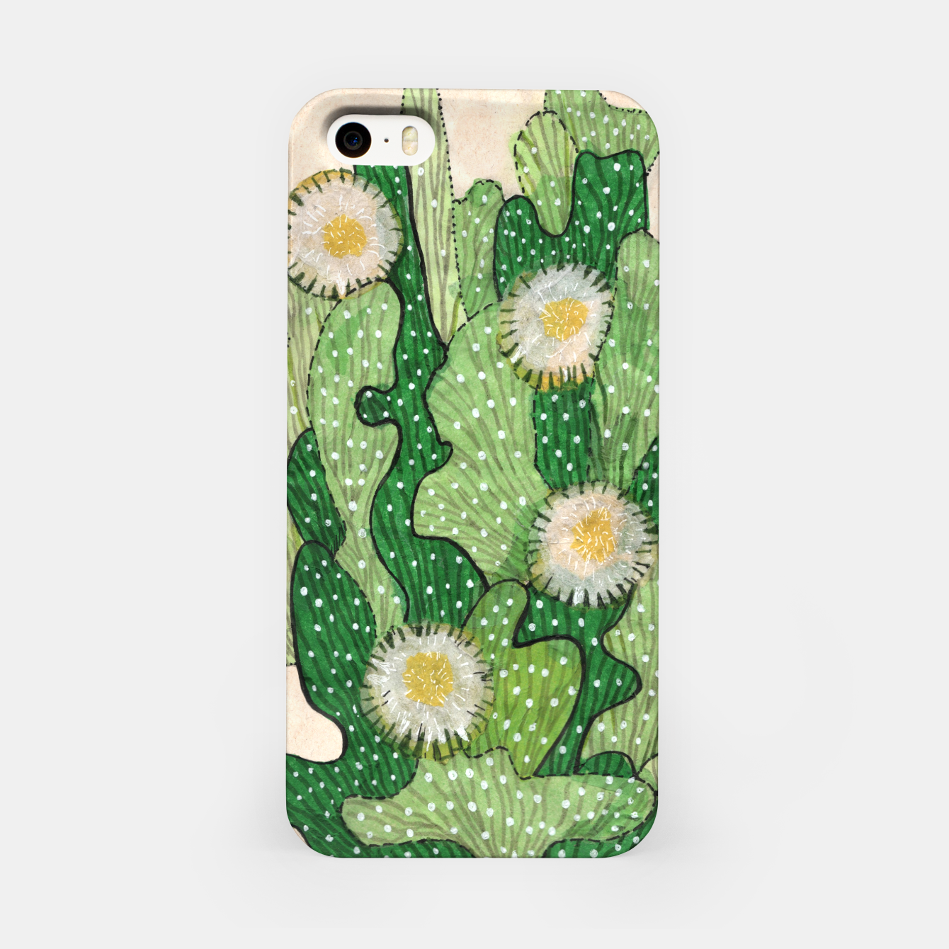 Image of Blooming Cactus, Green, White & Beige iPhone Case - Live Heroes