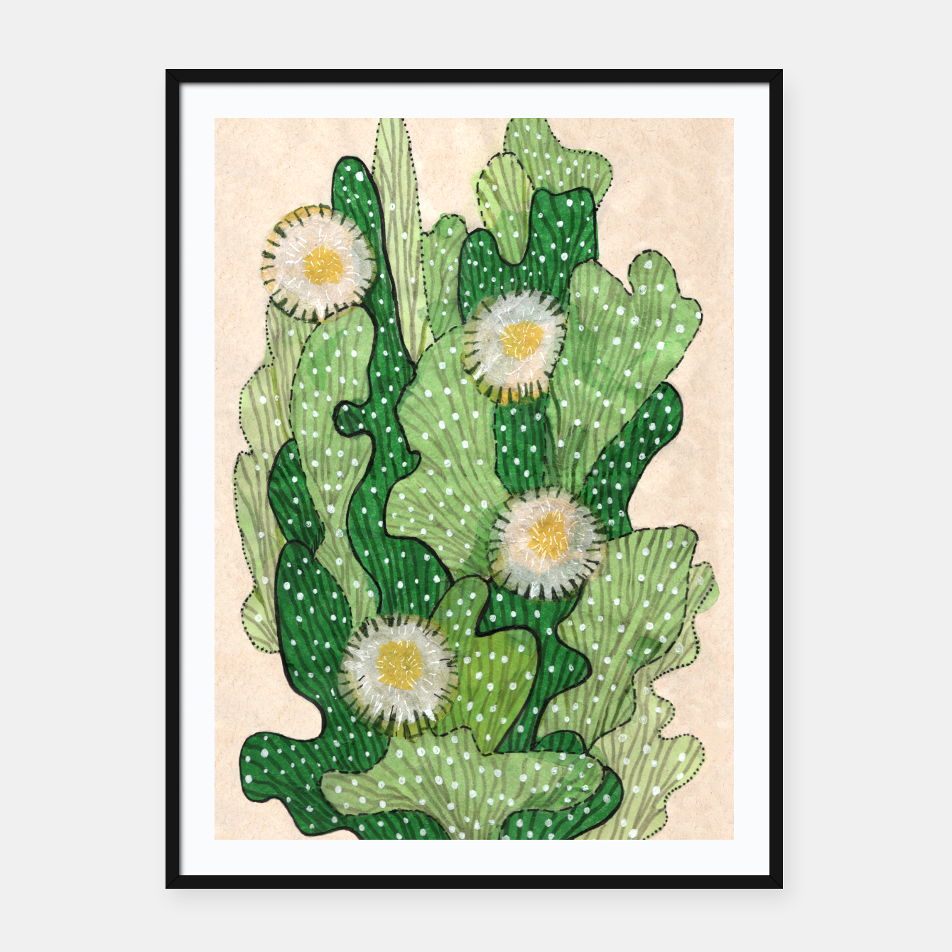 Image of Blooming Cactus, Green, White & Beige Framed poster - Live Heroes