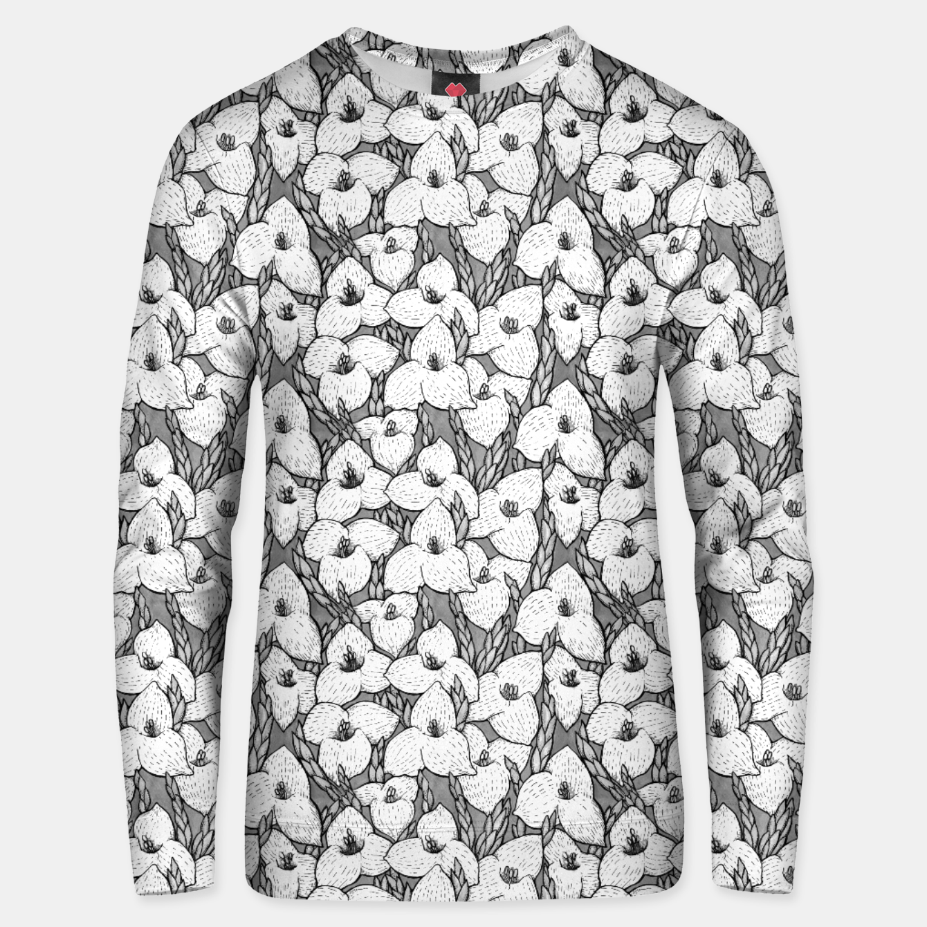 Image of Puya Flowers Floral Botanical Pattern White Grey  Unisex sweater - Live Heroes