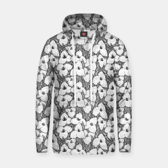 Thumbnail image of Puya Flowers Floral Botanical Pattern White Grey  Hoodie, Live Heroes